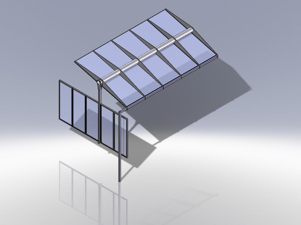 3D-Modellierung, Terrassenüberdachung, Glas-Metall