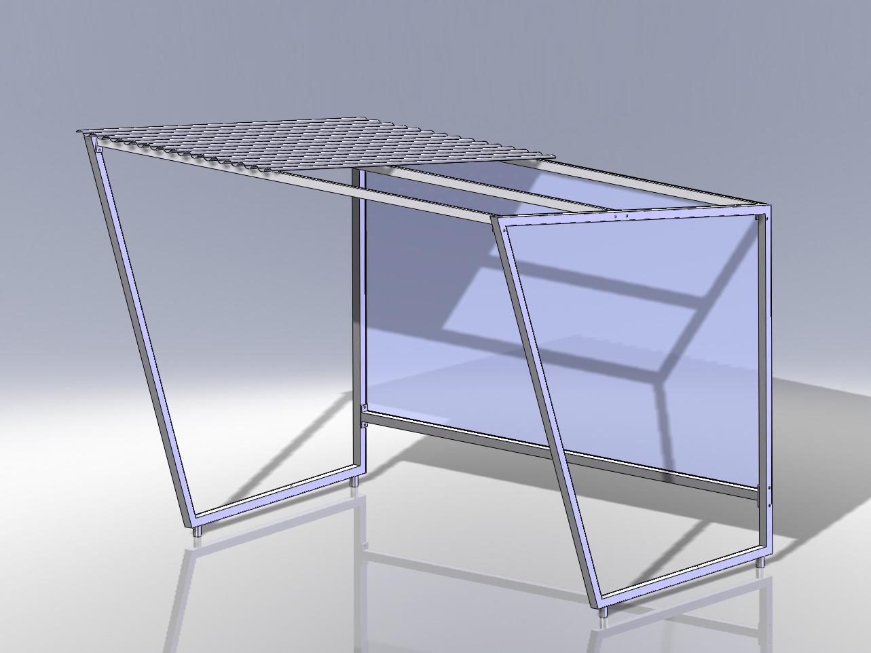 3D-Modellierung Fahrradunterstand aus verzinktem Stahl und Dach nach Wahl