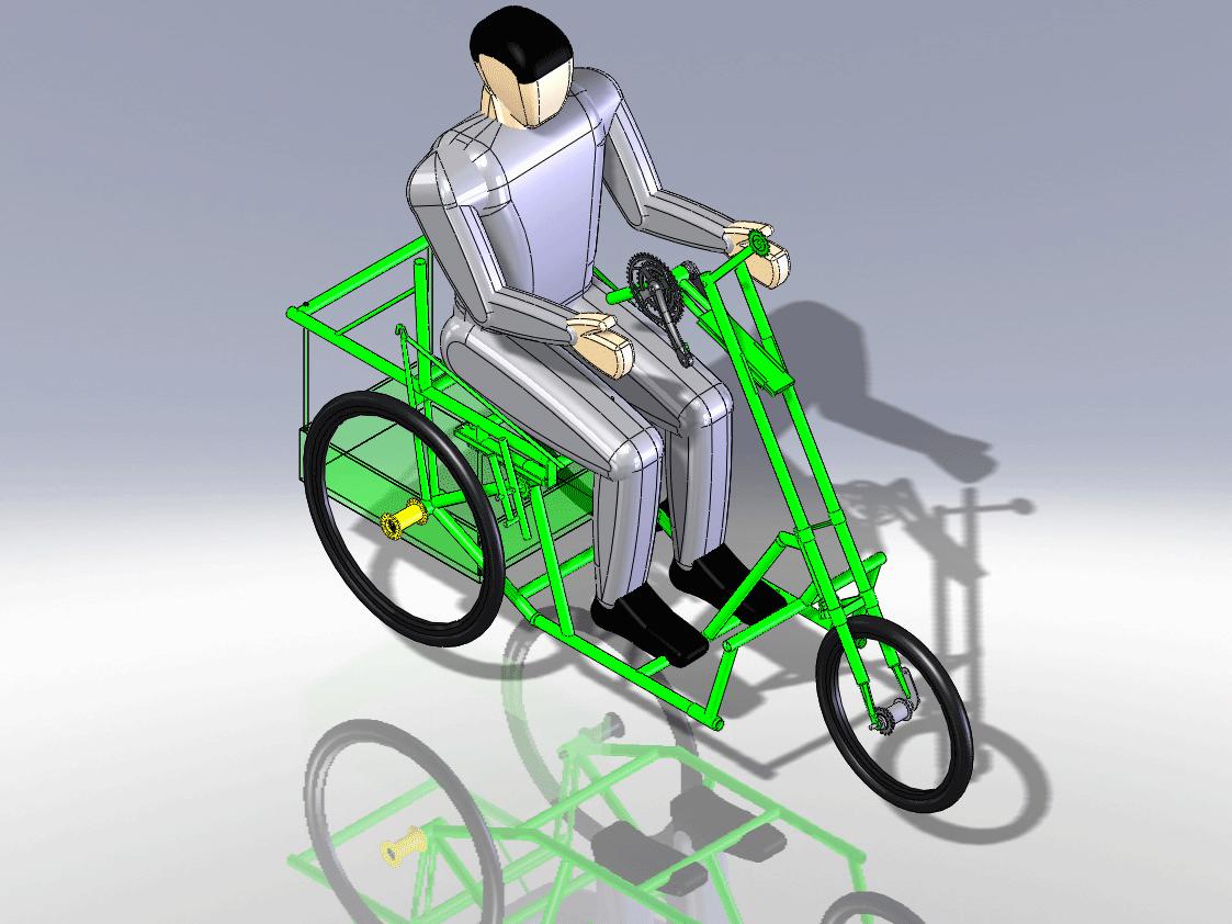 voiturette basierend auf drei Fahrradrahmen, einstellbarer Antrieb, Umwerferschaltung, Einschlag > 180°